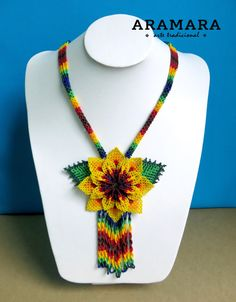 Mexican Huichol Beaded Yellow Flower Necklace CFG-0053  by Aramara