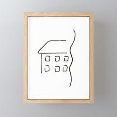 Line art - house Framed Mini Art Print by bublinko Rustic Feel, Great Friends, Home Art, Decor Styles, Keep It Cleaner, Gallery Wall, Art Prints, Mini, Frame