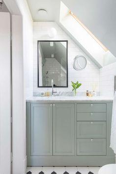 Custom built small bathroom with angeled ceiling in farrow and ball teal green. Zen Bathroom, Bathroom Interior, Modern Bathroom, Master Bathroom, Bathroom Ideas, Neutral Bathroom, Bathroom Basin, Bathroom Cabinets, Bathroom Designs