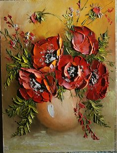 Картины цветов ручной работы. Ярмарка Мастеров - ручная работа. Купить Маки в вазе.. Handmade. Разноцветный, картина, картина в подарок