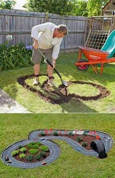 DIY Projects for Kids Inspired by Race Car Tracks 2019 Great way to get them playing outdoors! The road is cement which has been painted black. The post DIY Projects for Kids Inspired by Race Car Tracks 2019 appeared first on Backyard Diy. Diy Projects For Kids, Outdoor Projects, Diy For Kids, Crafts For Kids, Backyard Projects, Kids Fun, Garden Projects, Project Projects, Cool Kids Toys
