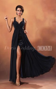 Sexy Sleeveless Chiffon Long Black Prom Dress With Slit. Shop our unique designer black prom dresses and evening gowns! From elegant evening wear to pretty elegant prom dresses, find the latest styles and trends at #DorisWedding.com
