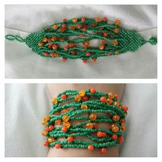 pulseira de miçangas verde com laranja