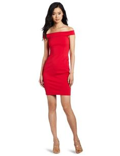 HALSTON HERITAGE Women's Off Shoulder Dress, Lipstick Red, 8 | Traveling Of Life