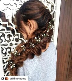 This gorgeous long flat mermaid plait with flowers and more mermaid hairstyles French Braid Hairstyles, Indian Bridal Hairstyles, Flower Girl Hairstyles, Bride Hairstyles, Mermaid Hairstyles, Long Hair Wedding Styles, Beach Wedding Hair, Long Hair Styles, Mermaid Braid