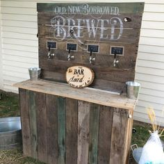 """Wedding bar built by KegWorks Customer Anthony Rubolotta. His words - """"Thank you KegWorks for the inspiration and the equipment used to build our Wedding Beer Bar. A huge success! Mobile Bar, Pallet Wedding, Craft Beer Wedding, Rustic Wedding, Portable Bar, Outside Bars, Ideas Hogar, Beer Taps, Partys"""