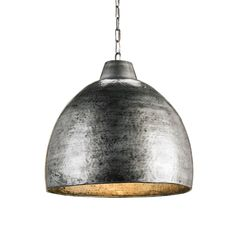 The Earthshine Pendant is constructed of randomly hammered metal with a Blackened Steel finish inside and out. The warm glow is provided by the incandescent light reflecting on the metallic finish. by Currey and Company.