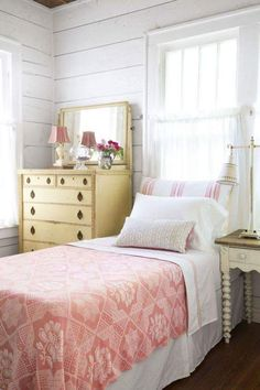 """Charming Texas Cottage Is Packed with Vintage Character In guest Bedroom the tiny lampshade on the dresser was crafted by Etsy's """"Lampshade Lady.""""In guest Bedroom the tiny lampshade on the dresser was crafted by Etsy's """"Lampshade Lady. Cottage Style Bedrooms, Coastal Bedrooms, Home Bedroom, Bedroom Decor, Bedroom Ideas, Master Bedroom, Bedroom Inspiration, Modern Bedroom, Bedroom Classic"""