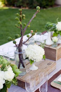 Rustic weddings are so cutie! I always love sharing ideas connected with them, and today these are rustic table settings because table decor is the second thing that comes to mind after dressing the couple. Rustic weddings are very cozy and comfy. Wedding Centerpieces, Wedding Decorations, Table Decorations, Centrepieces, Rustic Centerpieces, Wedding Ideas, Party Wedding, Wedding Reception, Canvas Canopy