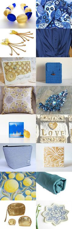 Gold and blue collection by Miss Cherry on Etsy--Pinned with TreasuryPin.com