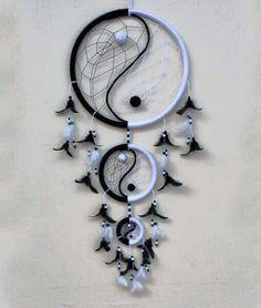 ☮ American Hippie Art ☮ B & W Yin Yang Dreamcatcher
