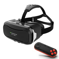 3D Movies Games VR Headset w iOS Android Bluetooth Remote Controller Universal Virtual Reality Glasses Box for iPhone Samsung Galaxy SONY Xperia LG HTC MOTO Cellphones -- Click image for more details.
