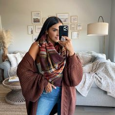 Chunky Knit Cardigan, Blanket Scarf, Plaid Scarf, Fall Outfits, Autumn Fashion, Sequins, How To Wear, Amazon, Blog