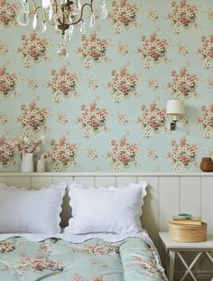 Briar Rose wallpaper from Jean Monro Scenic Wallpaper, Rose Wallpaper, Fabric Wallpaper, Beautiful Wallpaper, Rose Cottage, Shabby Cottage, Shabby Chic, Dream Bedroom, Home Bedroom