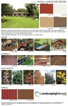 For a high-res, printable guide to designing the landscape for a ranch-style home, visit: Landscape Design Plans, Garden Design Plans, Lawn And Landscape, Small Garden Design, Desert Landscape, Ranch Landscaping Ideas, Texas Landscaping, Garden Landscaping, English Garden Design