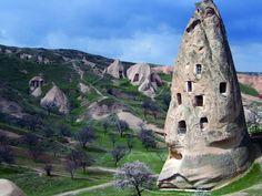 Cave homes in Cappadocia, Turkey.