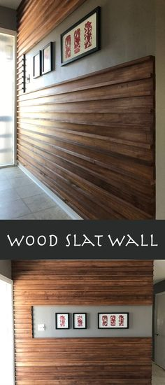 Slat Wall Wood slat feature wall for entryway.Wood slat feature wall for entryway. Wood Slat Wall, Diy Wood Wall, Rustic Wood Walls, Wood Panel Walls, Wood Slats, Wooden Walls, Wood Paneling, Paneling Ideas, Wood Interior Walls