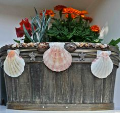 Seashell Wooden Flower Box...except not so cheesy...maybe add raffia to beach-it-up subtly