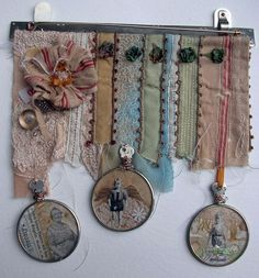 *family medals - no directions or tutes but lots of images of her art collages for inspiration and links to buy her finished works. Textile Jewelry, Fabric Jewelry, Jewellery, Fabric Art, Fabric Crafts, Fabric Postcards, Collage Art, Art Collages, Garra