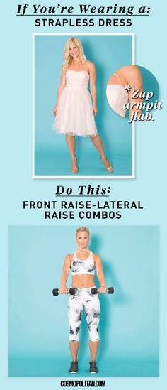 WEDDING SEASON WORKOUT: Look your best in a variety of dresses with these 10 different workouts designed to help you look your best in specific dress styles and looks. Whether you want to look great in your bridesmaid dress, prom dress, wedding dress, or Trendy Dresses, Tight Dresses, Dresses 2016, Wedding Dress Workout, New Wedding Dresses, Bridesmaid Dresses, Front Raises, Hitt Workout, Fitness Design
