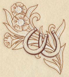 Horseshoe and Flowers - Left design (L4911) from www.Emblibrary.com