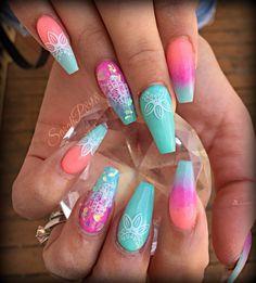 neon coffin nails