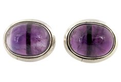 Amethyst Crystal Cabochon Mexican Silver Earrings by Ruby + George on @One Kings Lane SOLD