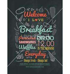 Breakfast cafe menu typography on chalk board vector - by kraphix on VectorStock®