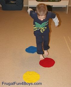 Set up different colored pieces of felt, have the kids use both their feet to hop to certain colors, depending on what color is said. This would be a good activity for preschoolers when they are learning about colors.