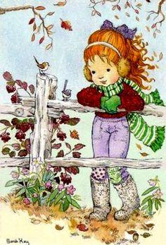Risultati immagini per imagenes de sarah kay en navidad Mary May, Decoupage, Autumn Illustration, String Art Patterns, Holly Hobbie, Creative Pictures, Freelance Illustrator, Love Painting, Illustrations