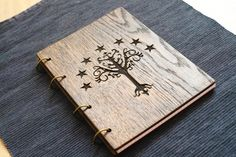 Tree of Gondor (Lord of the rings) wooden (Oak) notebook / travelbook / sketchbook on split rings A5 (personalization available)
