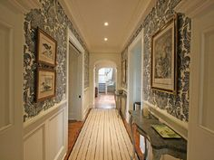 Long Hallway With Wainscoting And Wallpaper : Update Your Hallway With Stunning Wallpaper Mansion Bedroom, Mansion Interior, Church Interior, Long Hallway, Upstairs Hallway, Hallway Wallpaper, Damask Wallpaper, White Wallpaper, Wallpaper Ideas