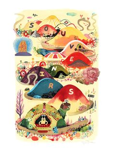 Souther Salazar Souvenirs  watercolor, ink and collage on paper  24 x 18 inches (60.96 x 45.72 cm) 29 x 23 inches, framed