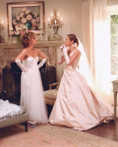For this 2005 rom-com, bride Charlie Cantilini (Jennifer Lopez) wore a chic, ivory ball gown with a plunging by Saeyoung Vu Couture and accessorized with elbow-high gloves. Hilariously, her future mother-in-law, Viola (Jane Fonda), shows up in a look that's totally inappropriate for the mother of the groom: a white dress and matching white gloves. The costumer responsible for staging this epic clothing feud? Kym Barrett, who—fun fact—also worked on Romeo + Juliet and The Matrix.