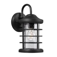 Sea Gull Lighting Sauganash 1-Light Outdoor Black Wall Lantern with Clear Seeded Glass-8524401-12 at The Home Depot