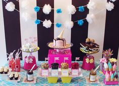 ice cream party - like the sprinkles around the cake and upside down buckets for height