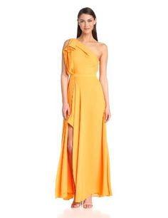 HALSTON HERITAGE Women's One Shoulder Colorblock Ruffle Gown