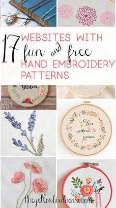 17 Sites with Fun and Free Hand Embroidery Patterns