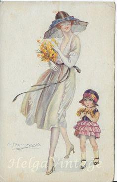 Italian Art Deco litho/graphical postcard, fashion, lady, and little girl 1923 Italian Art, Vintage Postcards, 18th Century, Little Girls, Art Deco, Vintage Fashion, Paintings, Lady, Vintage Travel Postcards