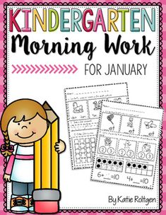 Kindergarten Morning Work for January - You get 25 pages of high quality student friendly printable worksheet pages for your kinder students. Various math and ELA concepts are included. These work great as seat work to help students stay engaged. Plus you grow student independence while practicing and reviewing essential K skills.