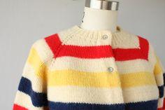 60s Striped Wool Cardigan 1960s Handknit by CustardHeartVintage
