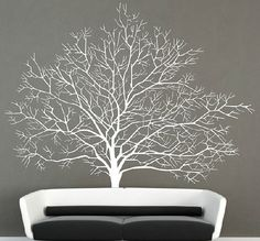 Birch tree wall decal, Autumn tree with flying bird wall sticker wall mural, Branch wall decals, Forest wall decals, Modern home decor-3693