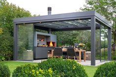 Backyard Seating, Backyard Patio Designs, Pergola Designs, Outdoor Living Rooms, Outdoor Dining, Outdoor Decor, Rooftop Terrace Design, Modern Gazebo, Outdoor Fireplace Designs
