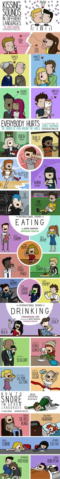 And now, linguistics.   How Kissing, Snoring, Eating and Other Things Sound In Different Languages