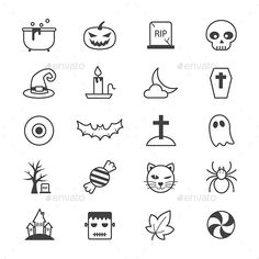 Buy Halloween Party Icons Line by karawan on GraphicRiver. Set of Halloween Party Icons Line 20 Outline Stroke File included -AI - - JPG hi-quality Set of Halloween P. Doodle Tattoo, Doodle Drawings, Easy Drawings, Doodle Art, Tattoo Drawings, Halloween Doodle, Halloween Icons, Halloween Halloween, Easy Halloween Drawings