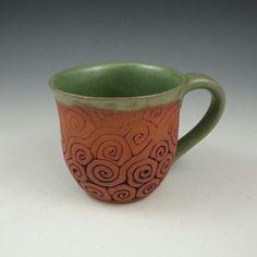 Coil-Built Pottery Mug by KulshanClayworks on Etsy