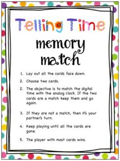 Telling Time - Memory Match