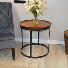 Trent Austin Design Avsallar End Table Color: Chestnut Black Accent Table, Black End Tables, Sofa End Tables, Furniture Deals, Furniture Making, Living Room Furniture, Furniture Outlet, Online Furniture, Round Side Table