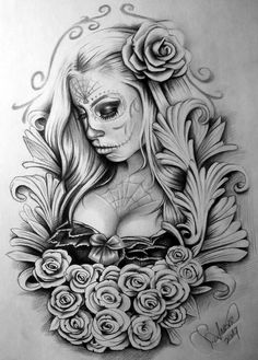 stunning eye-catching tattoo sketches design ideas Wagepon Ideas - We . - stunning eye-catching tattoo sketches design ideas Wagepon Ideas – When getting a tattoo, it& - Skull Girl Tattoo, Girl Face Tattoo, Sugar Skull Tattoos, Girl Tattoos, Big Tattoo, Tattoo Design Drawings, Tattoo Sleeve Designs, Tattoo Sketches, Skull Tattoo Design