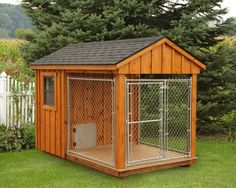 6'x10' Dog Kennel with 4'x6' Box, 6'x6' Run, and Board and Batten Siding    If they aren't allowed inside, may as well let them have their own cool house!